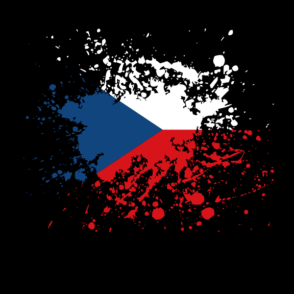 Czech flag ink splatter