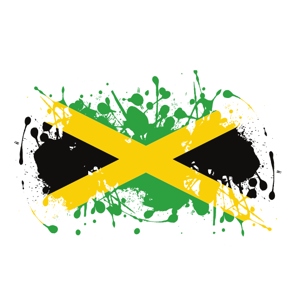 Jamaican flag ink splatter