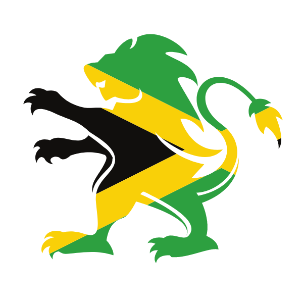 Jamaican flag heraldic lion