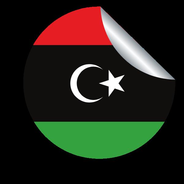 Libyan flag in a peeling sticker