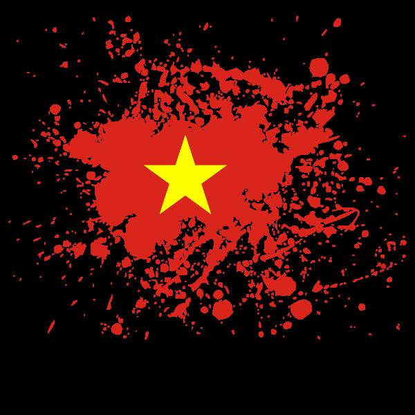 Vietnamese flag ink splatter
