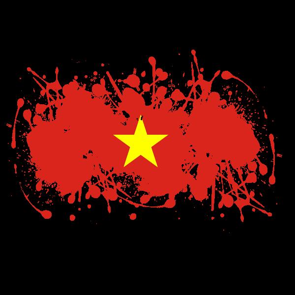 Vietnamese flag inside ink splatter