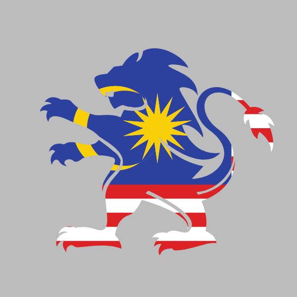 Malaysia flag heraldic lion emblem