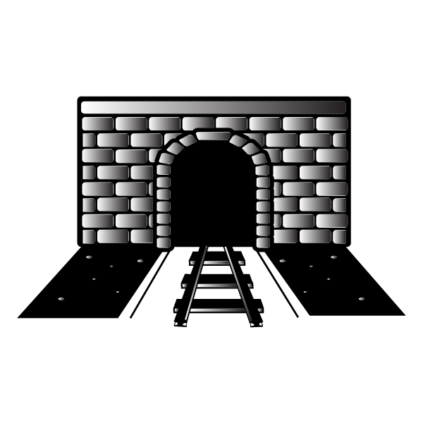 Railway tunnel monochrome vector