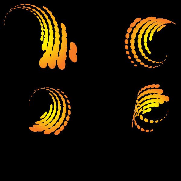 Yellow halftone design elements