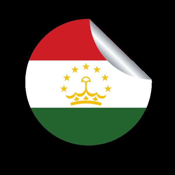 Tajikistan flag in a peeling sticker