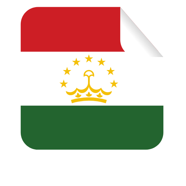 Tajikistan flag square-shaped sticker