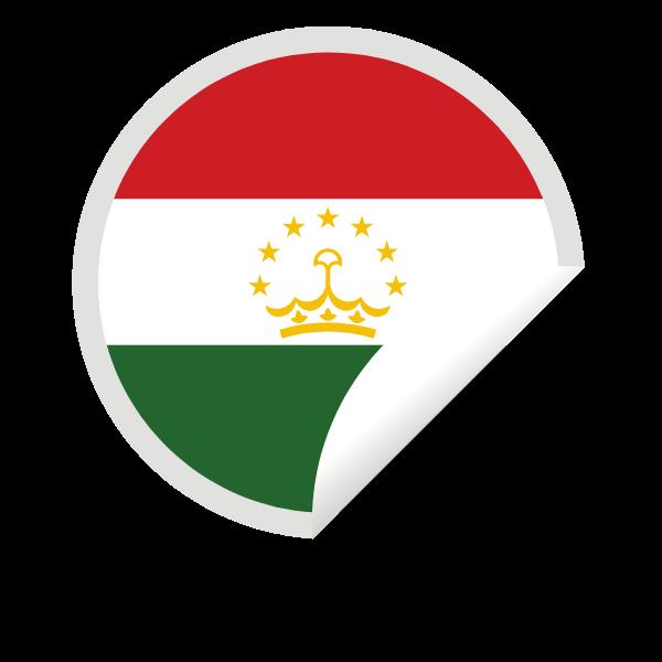 Tajikistan flag peeling sticker clip art