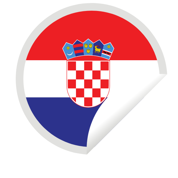 Croatian flag inside a peeling sticker
