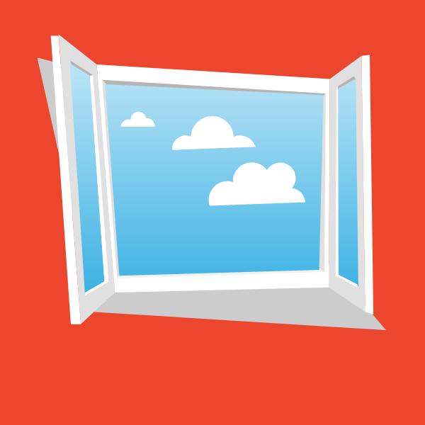 Open window clear sky view