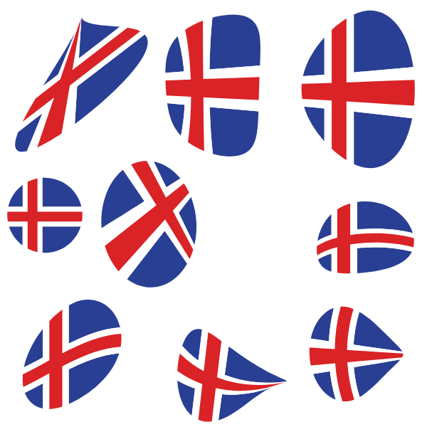 Iceland flags vector pack