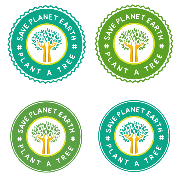 Ecology green planet stickers
