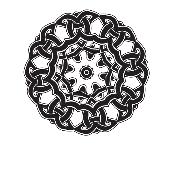 Circular tribal pattern in a knot