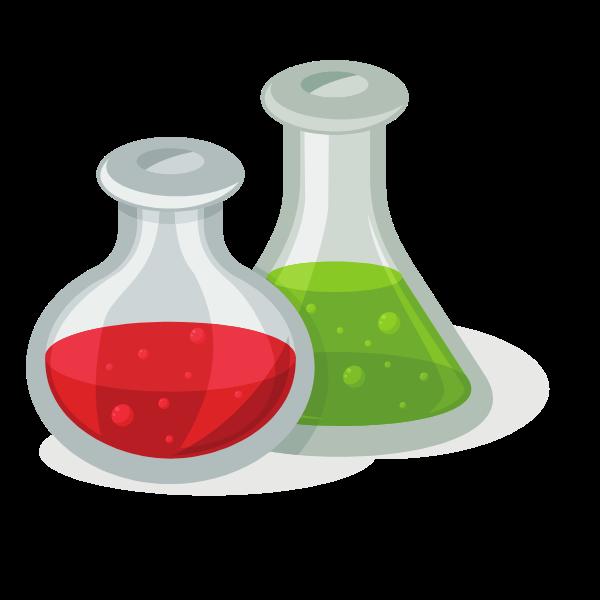 Chemical lab flasks