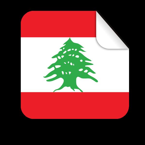 Lebanon flag square-shaped sticker