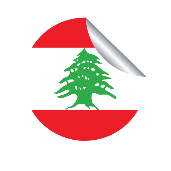 A peeling sticker with the flag of Lebanon