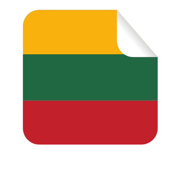 Square-shaped sticker with Lithuanian flag