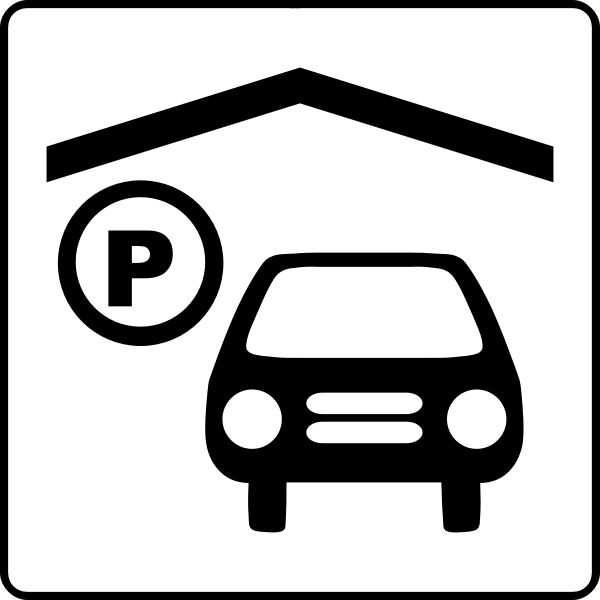 Vector icon for hotel has indoor parking