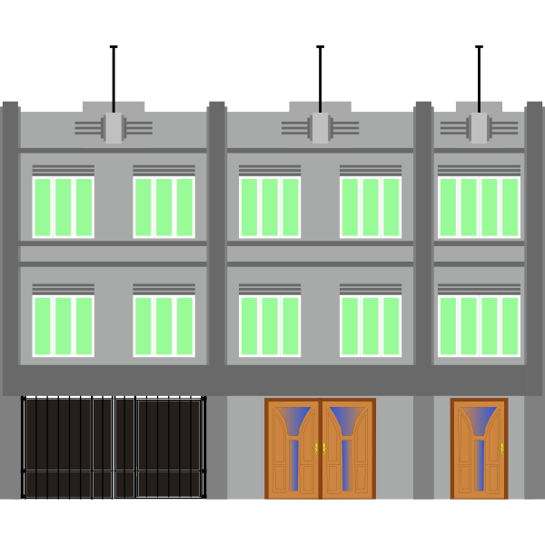 Vector illustration of a building with green windows
