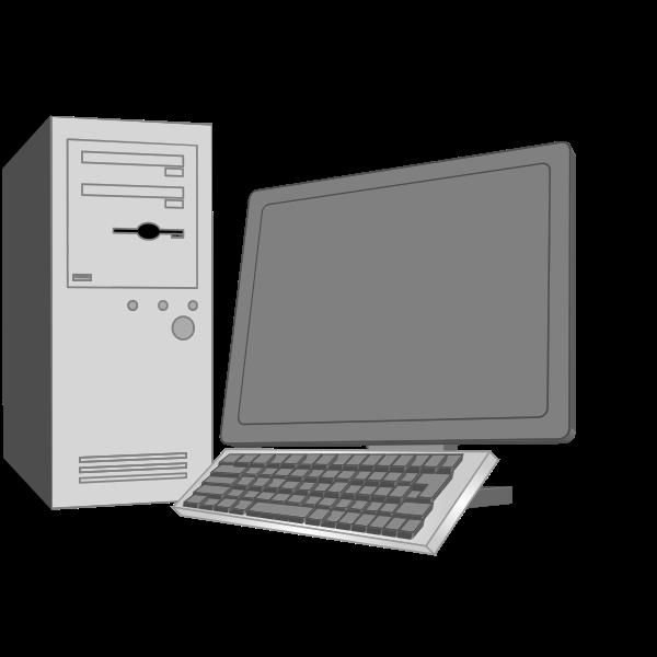Grayscale desktop computer configuration vector image