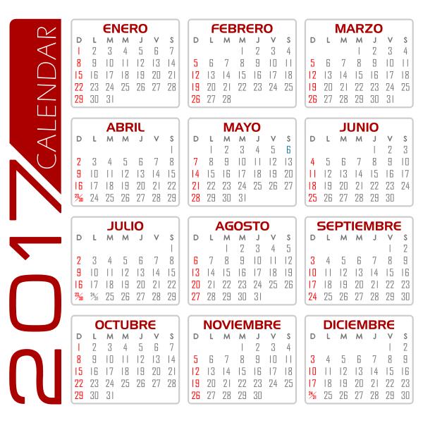 Calendar from 2017