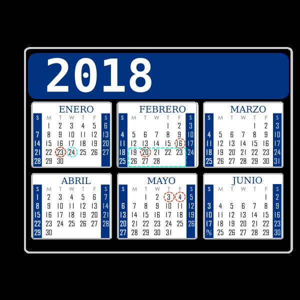 Calendar 2018 six months