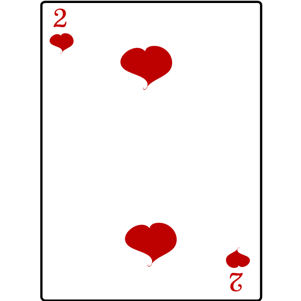 Two of hearts playing card vector graphics