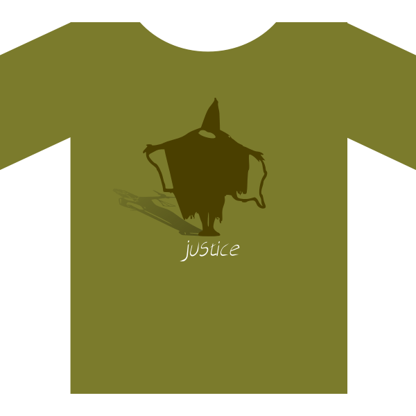 Vector image of shirt with ''justice'' label