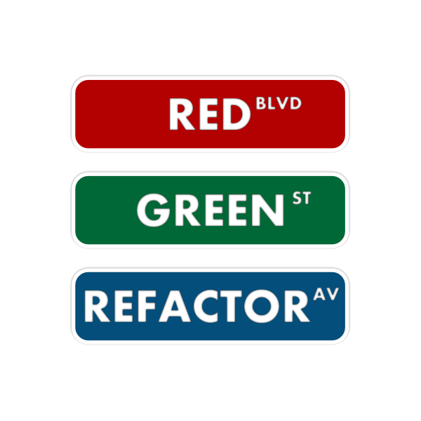 Red green refactor street sign vector drawing