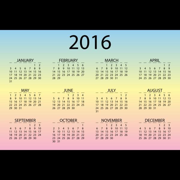 2016 Calendar Pastel