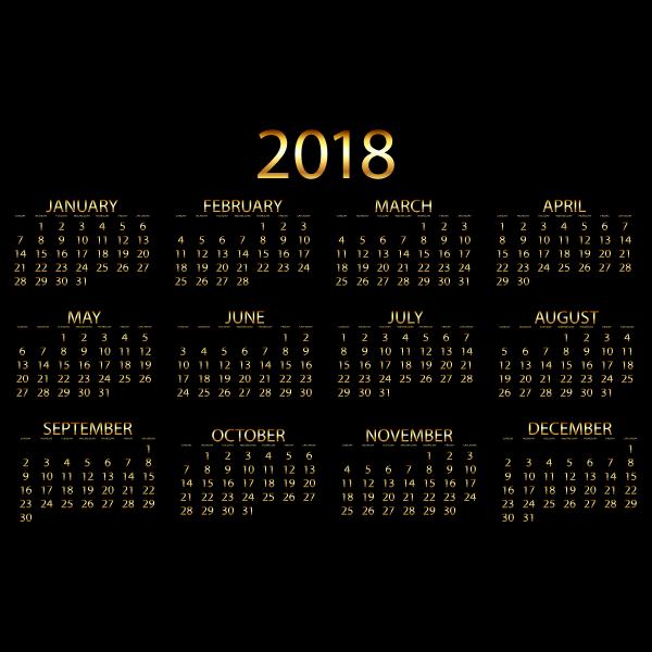 2018 Calendar Gold No Background