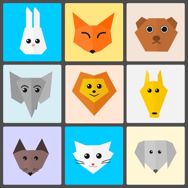 Cute Animals Flat Origami Style