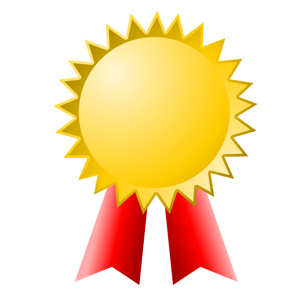 Vector clip art of medal with red ribbon