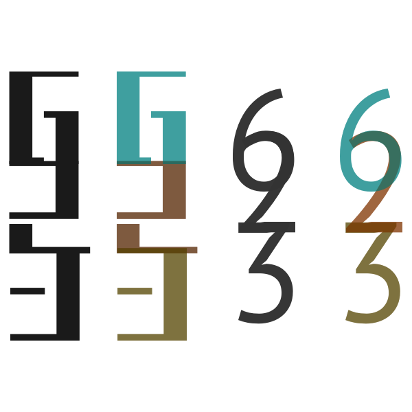 236 numbers logo abstract