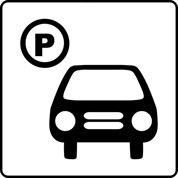 Vector icon for hotel has parking