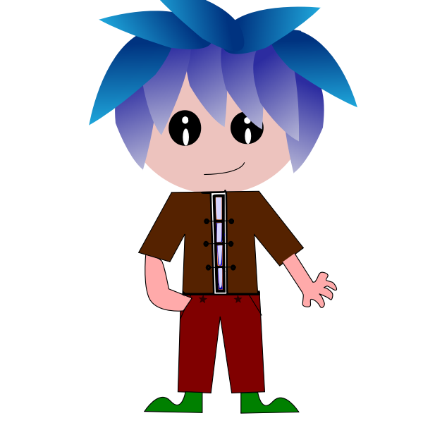Cartoon boy with blue hair vector illustration