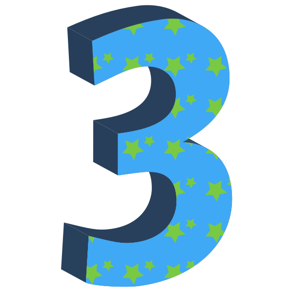 Vector drawing of blue number three