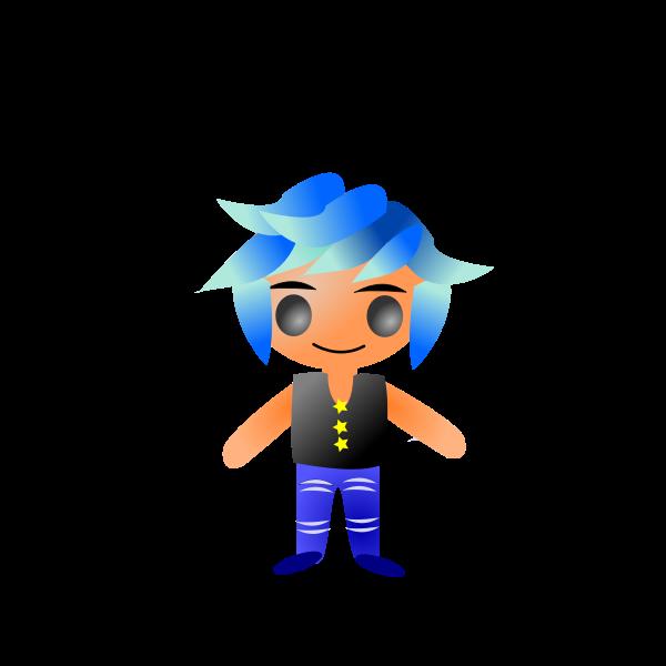 Blue hair manga character