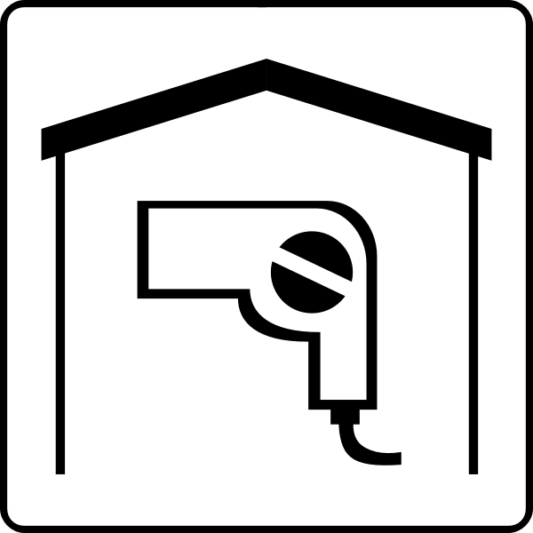 Hotel room with hair dryer icon vector image