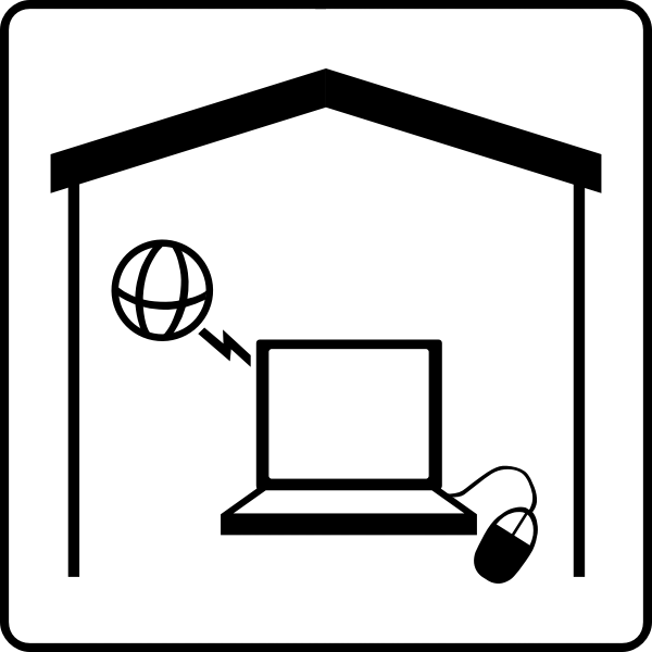 Hotel room with internet vector sign
