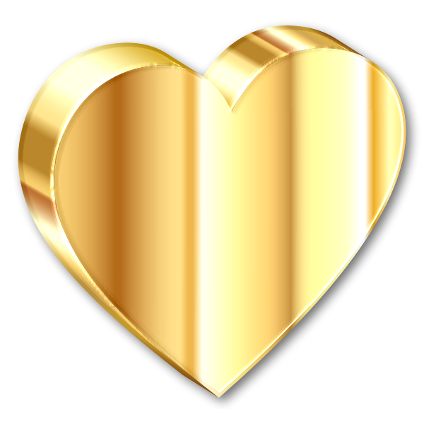 3D Heart Of Gold With Shadow
