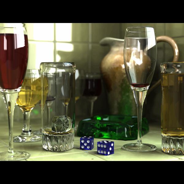 3D Rendered Wine Glasses