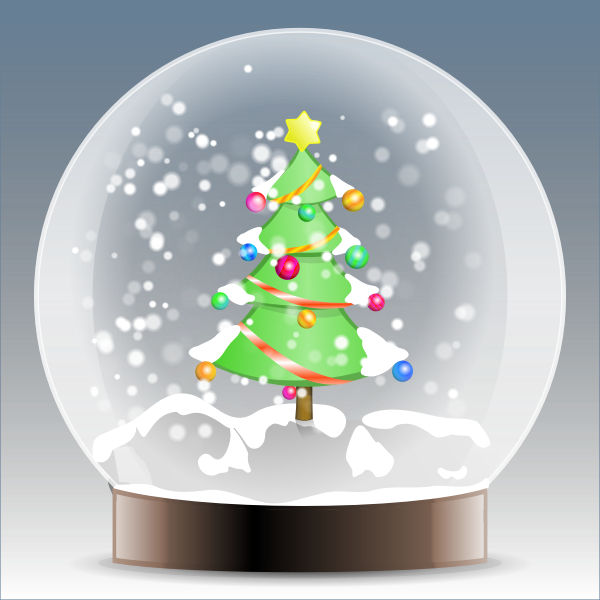 Christmas tree snow globe vector graphics