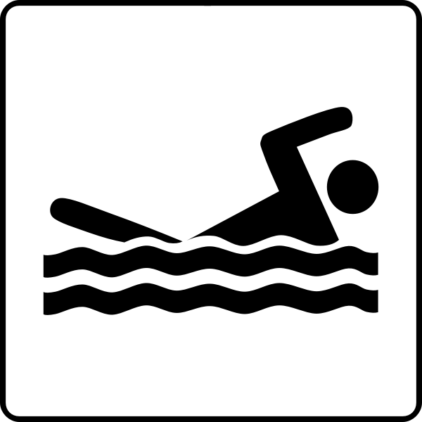 Vector clip art of swimming facilities available sign