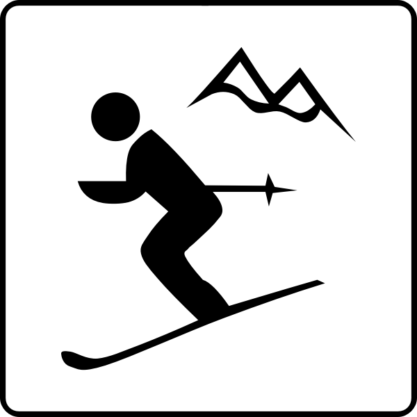 Vector drawing of skiing facilities available sign