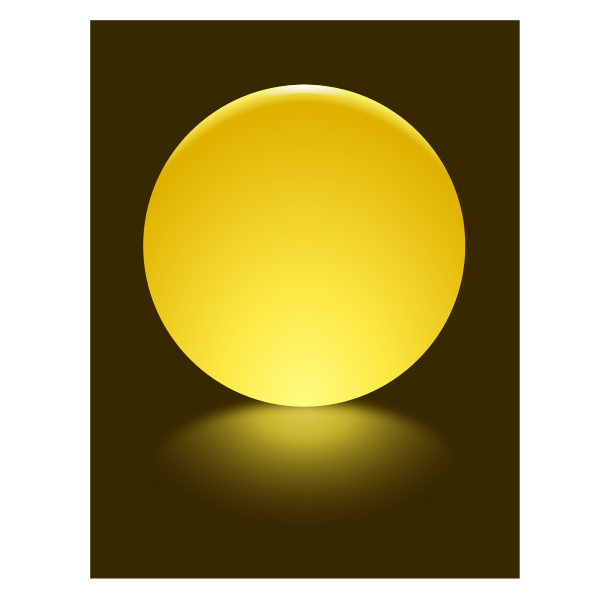 4 Yellow Sphere Blurred Reflection