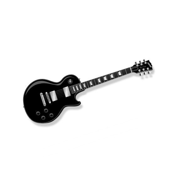 Black and silver electric guitar vector clip art