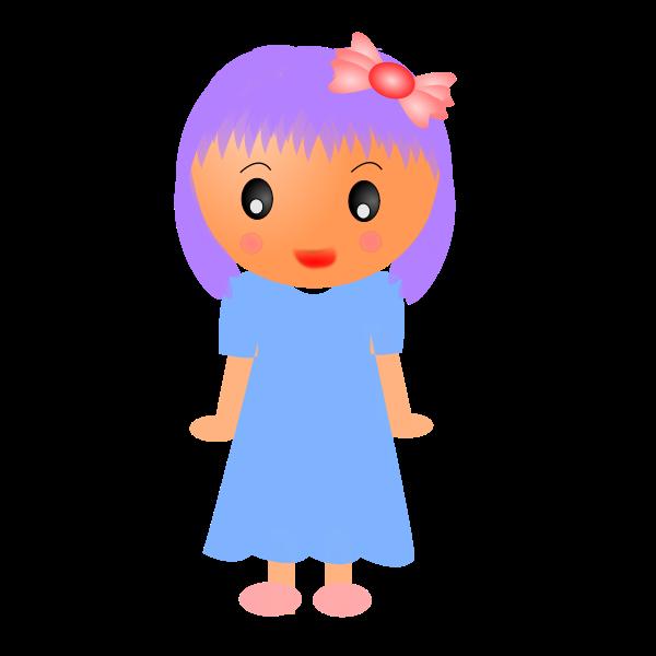Cartoon girl in blue dress