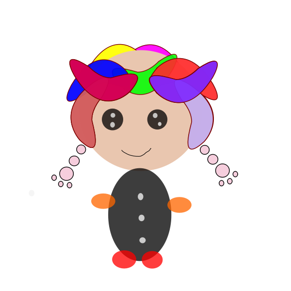 Cartoon girl with braids