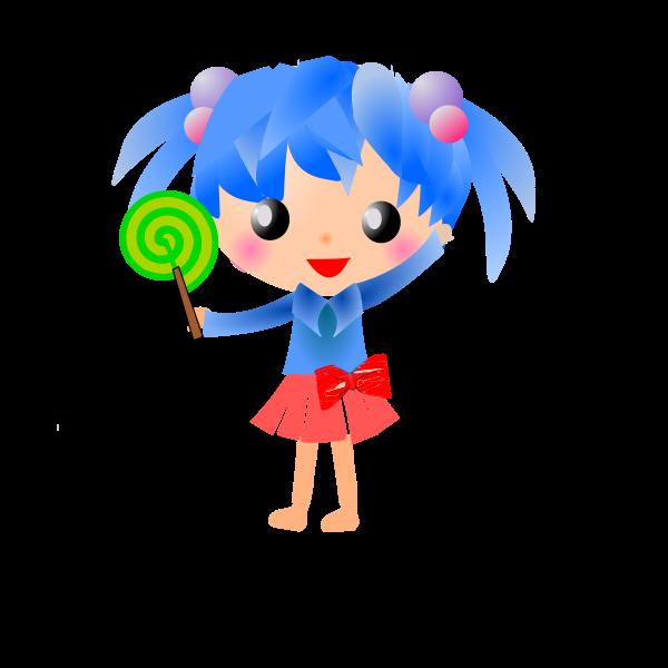 Manga girl with lolipop